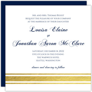 Classic Navy and Gold Foil Wedding Invitation