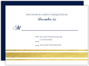 Classic Navy and Gold Foil Wedding Response Card