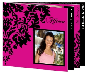 Quinceanera Invitation Pink and Black Elegant Damask