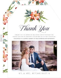 Delicate Watercolor Floral Wedding Thank You Card