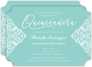 Triangle Lace Quinceanera Invitation