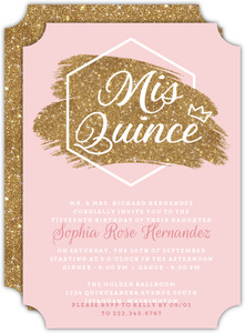 Modern Chick Faux Glitter Quinceanera Invitation