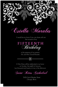 Black and Gray Flourish Quinceanera  Invite