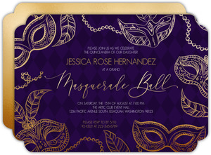 Elegant Faux Gold Masks Quinceanera Invitation