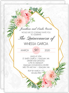Floral Embellished Frame Quinceanera Invitation