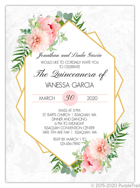 Floral Embellished Frame Quinceanera Invitation Quinceanera