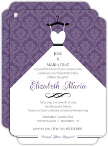 Royal Purple Ball Gown Quinceanera Invitation