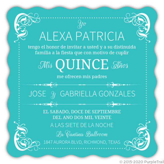 turquoise flourish border quinceanera invitation quinceanera