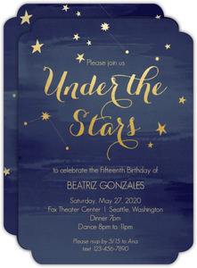 Watercolor Constellation Quinceanera Invitation