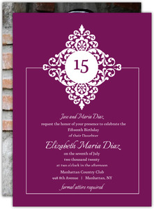 Purple and Black Floral Monogram Quinceanera Invitation