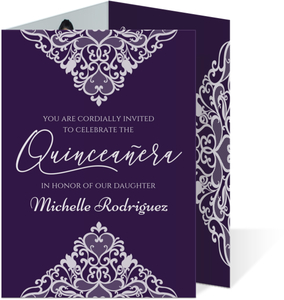 Purple And White Flourish Quinceanera Invitation