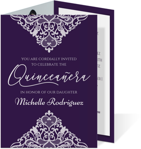 Triangle Lace Trifold Quinceanera Invitation