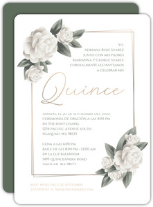 Elegant White Roses Quinceanera Invitation