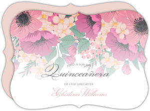 Blush Pink Anemones Quinceanera Invitation
