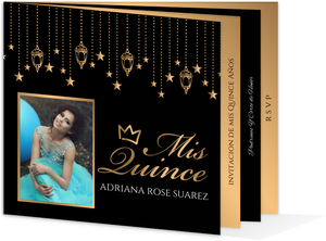 Golden Hanging Lights Quinceanera Booklet Invitation