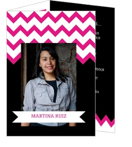 Pink And Black Chevron Quinceanera Invitation