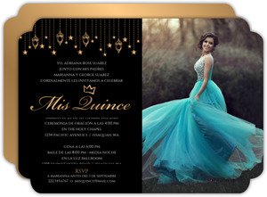 Golden Hanging Lights Quinceanera Invitation