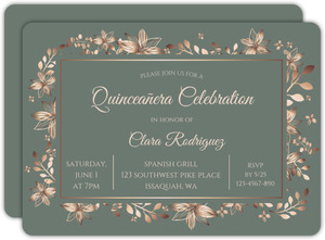 Bronze Floral Frame Quinceanera Invitation