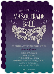 Damask Pattern Gradient Quinceanera Invitation