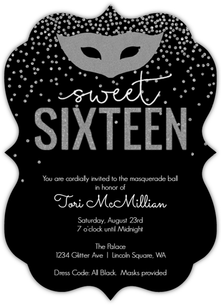 Silver faux glitter masquerade sweet sixteen birthday invitation silver faux glitter masquerade sweet sixteen birthday invitation solutioingenieria Image collections