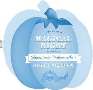 Blue Magical Pumpkin Sweet Sixteen Birthday Invitation