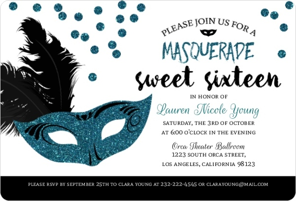 Black Turquoise Masquerade Sweet 16 Birthday Invitation