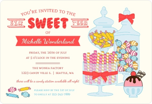 Cute Candy Station Sweet Sixteen Birthday Invitation Sweet 16
