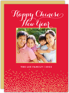 Gold Foil Confetti Chinese New Year Card