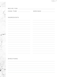Minimal Marble Recipe Printable Custom Pages