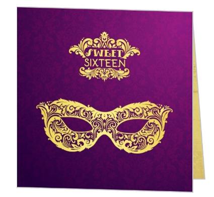 Elegant Golden Masquerade Sweet Sixteen Birthday Invitation