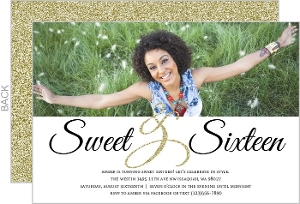 Elegant Sparkle Sweet Sixteen Birthday Invitation