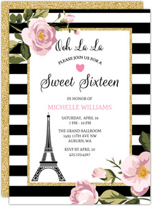 Black And White Stripes Sweet Sixteen Birthday Invitation
