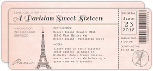 Parisian Plane Ticket Sweet Sixteen Birthday Invitation