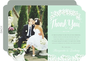 Whimsical Mint Babys Breath Wedding Thank You Photo Card