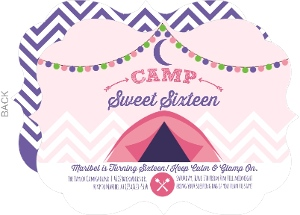 Glam Camping Sweet Sixteen Birthday Party Invitation