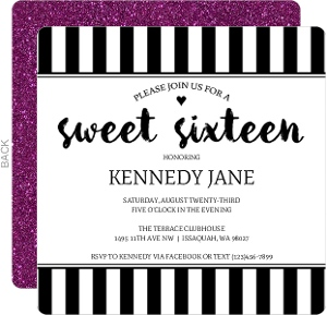 Sophisticated Black And White Sweet Sixteen Birthday Invitation