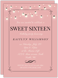Bright Hanging Lights Birthday Invitation