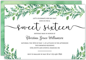 Gorgeous Greenery Sweet 16 Invitation