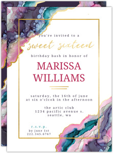 Faux Gold & Ink Marble Sweet 16 Birthday Invitation