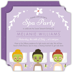 Purple Spa Girls Birthday Party Invitation