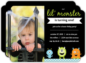 Little Monster Halloween Birthday Party Invitation