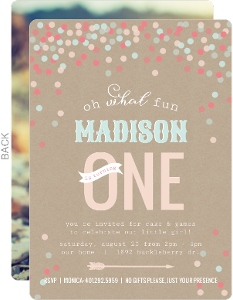 Krafty Confetti First Birthday Invitation