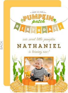 Cute Pumpkin Patch Banner Birthday Party Invitation