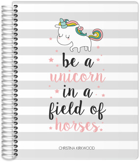 Stripes Unicorn Quote Custom Journal