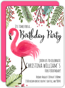 Pink Flamingo First Birthday Invitation