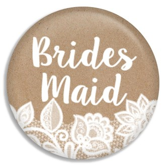 Kraft And White Lace Bridesmaid Button