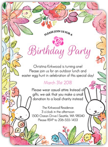 Easter Bunny First Birthday Invitation