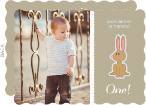 Taupe Easter Bunny First Birthday Invitation