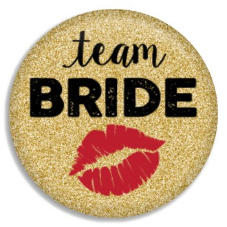 Faux Gold Glitter Team Bride Button