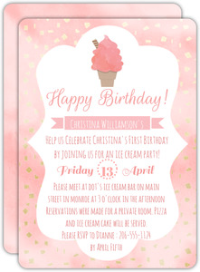 Pink Watercolor Ice Cream First Birthday Invitation